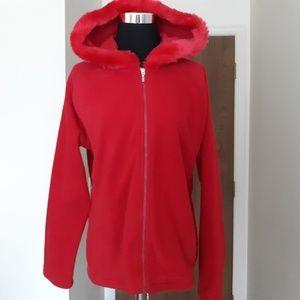 Kim Rogers PXL Red Fleece Hoodie Jacket EUC
